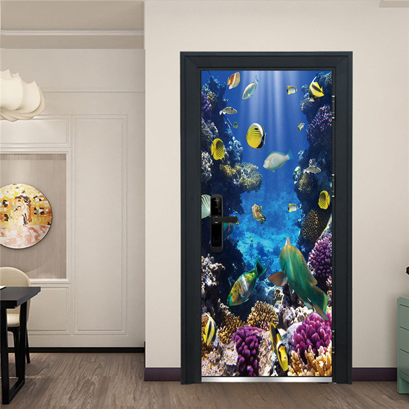 Underwater World Door Wallpaper Waterproof Self-adhesive Door Sticker Shoal Of Fish Aquarium Children Bedroom Nursery Home Decor image