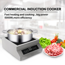 ITOP 23 Ampere Commercial 5000W Induction Cooker Glass-ceramic Glass Touch Control Cooking Machine Connect With Air Switch 220V