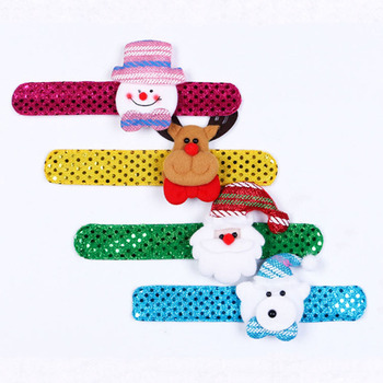 New Arrive Christmas Patting Circle Xmas Children Gift Bracelet Watch Santa Claus Snowman Deer New Year Party Toy Wrist Decorati image