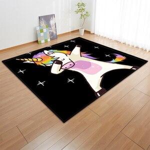 Image 4 - Alfombras de franela antideslizantes con dibujos de unicornios rosa para niños, tapete de juego para habitación de niñas, Alfombra de área decorativa, alfombra para sala de estar y alfombra