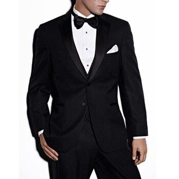 Black Business Men Suits Groom Wear Notched Lapel Three Piece Custom Made Wedding Groomsmen Tuxedos (Jacket + Pants Vest)