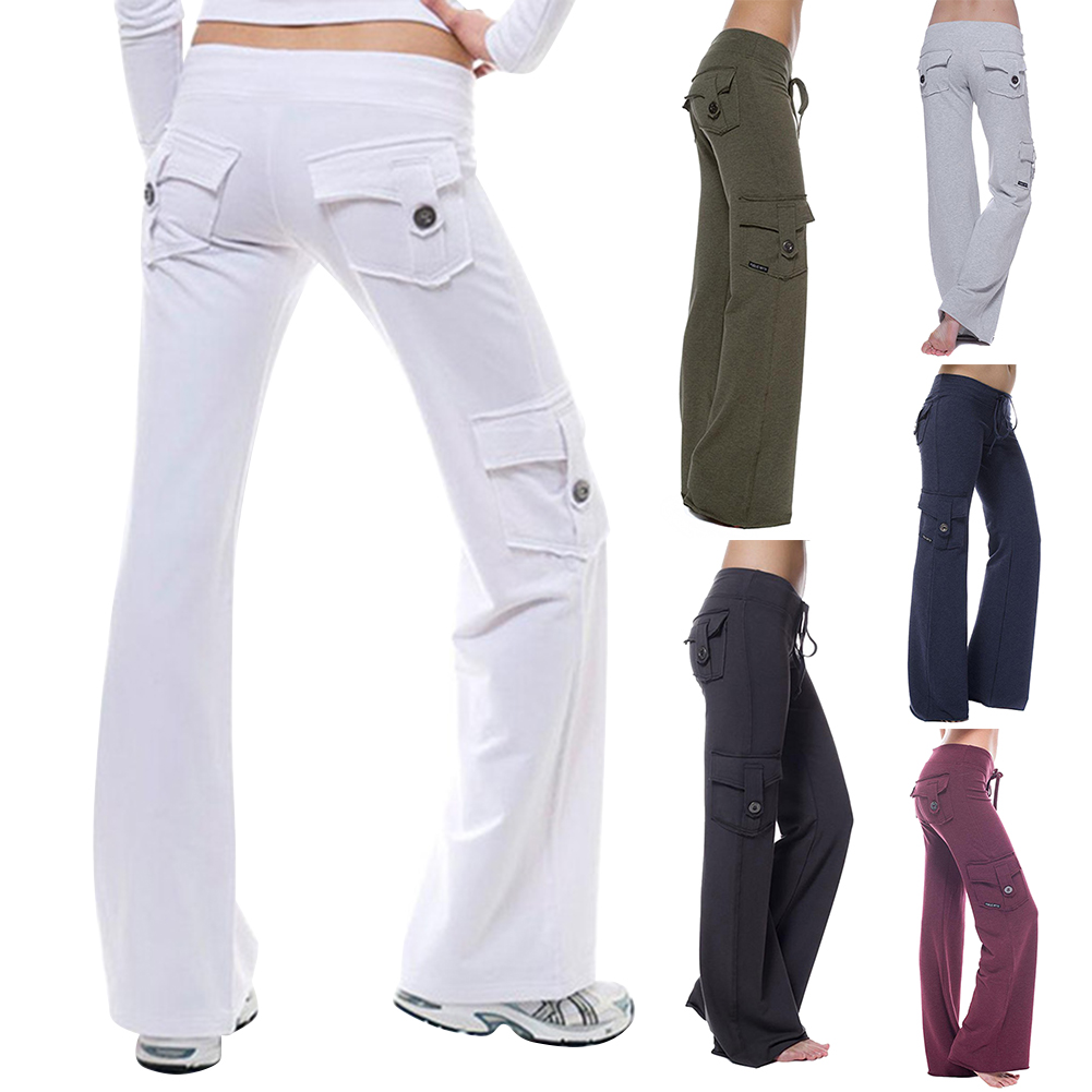 Women Pants Elastic Waist Button Pockets Fitness Exercise Running Pants GDD99