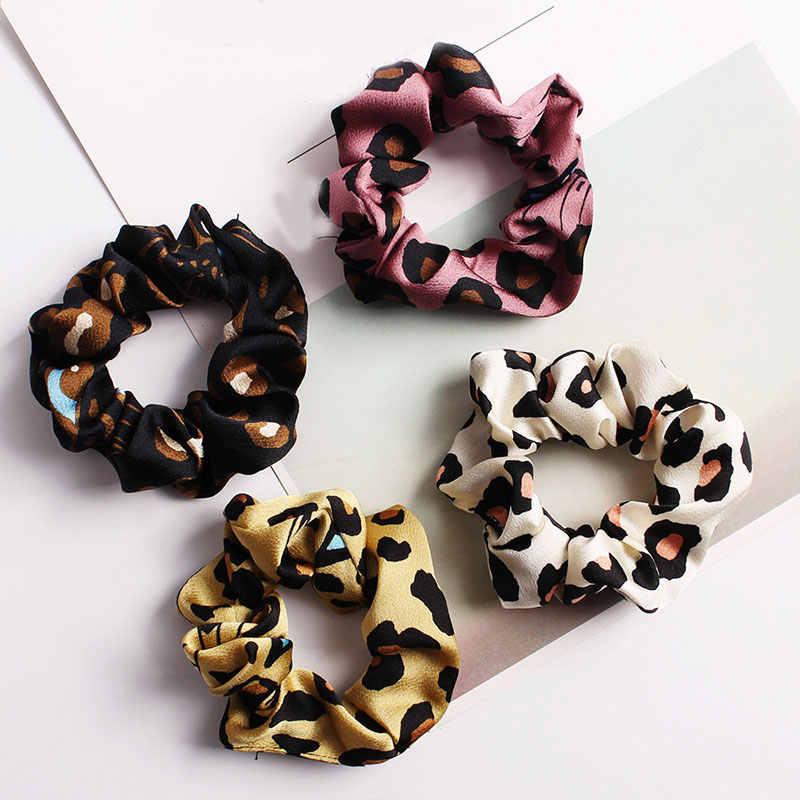 Banda de pelo de leopardo Orejas de conejo Retro moño Scrunchies con perla impresa diadema Cola de Caballo lazos para el cabello cuerda accesorios para el cabello niñas