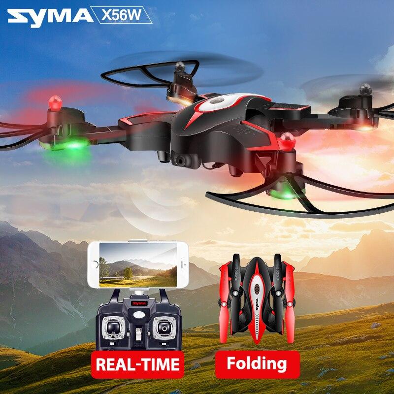 SYMA officiel X56W RC Drone pliant Quadrocopter avec caméra Wifi partage en temps réel lumière clignotante RC hélicoptère Drones avion