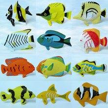 12 pces sortidas cor e design peixes tropicais figura jogo conjunto, brinquedos de peixes plásticos, educação mini brinquedos de animais marinhos para crianças