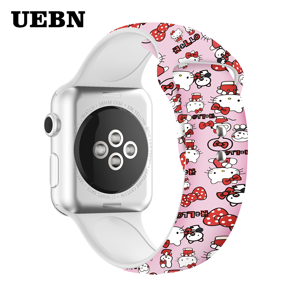 UEBN Hello Kitty Silicone Band For Apple Watch 38 42 40 44mm Printing Replaceable Strap For Iwatch Series 4 3 2 1 Watchbands