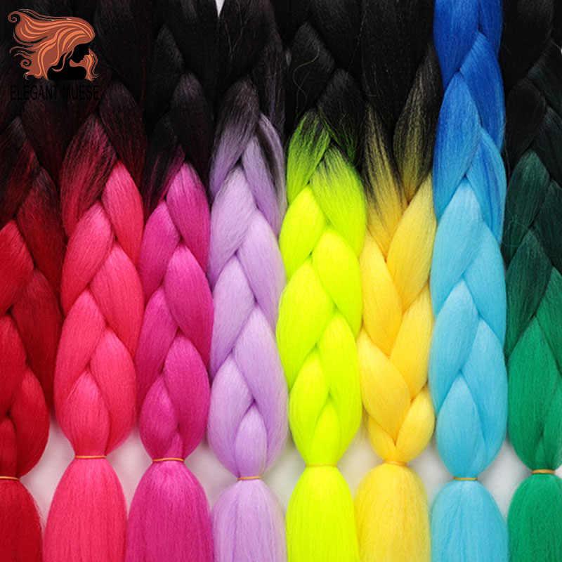 Elegan Pencipta 24 Inch Merah Muda Sintetis Crochet Rambut Jumbo Kepang Rambut Yaki Rambut Lembut Ombre Crochet Mengepang Rambut Ekstensi untuk kepang