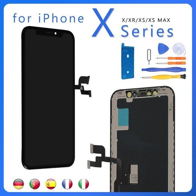 IPhone XR X XS OLED ekran ekran dokunmatik meclisi LCD tamamlandı ekran yedek parçalar sayısallaştırıcı + araçları
