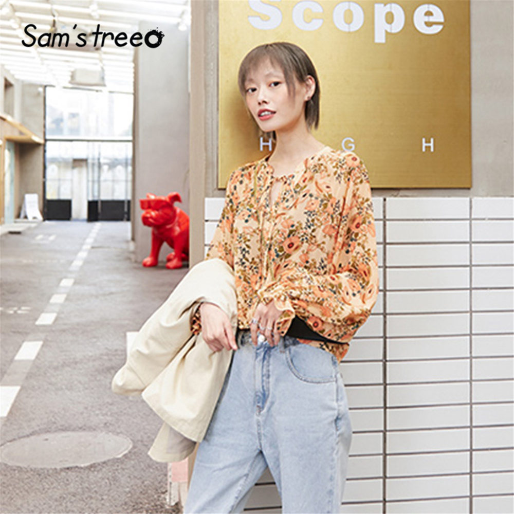 SAM'S TREE Colorful Floral Print Lace Up Frill Chiffon Blouse Women 2020 Spring Butterfly Sleeve Casual Ladies Daily Tops