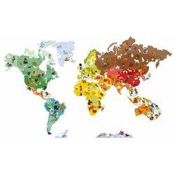 Magnetische sticker Wereldkaart (Grote sticker, 101 magneet dieren )