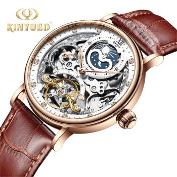 KINYUED Watch Men Hollow Skeleton Watch Automatic Mechanical Watch For Men Waterproof Tourbillon Wristwatches Relogio Masculino