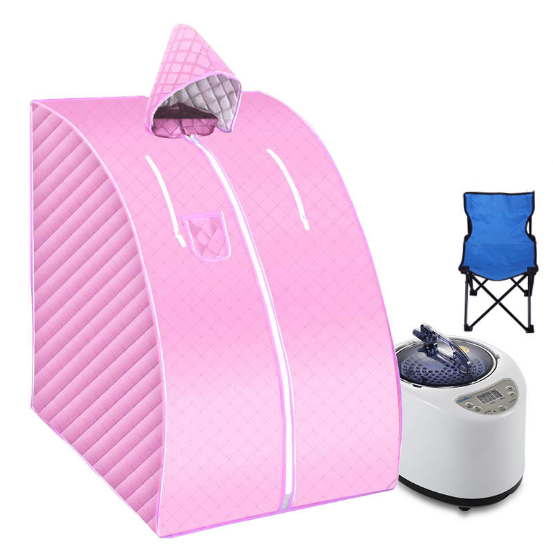 Portable Steam Sauna With Fold Chair Home Steam Sauna US Eu Plug 1000W 2L  STEAM BATH Ease Insomnia Stainless Steel Pipe Support