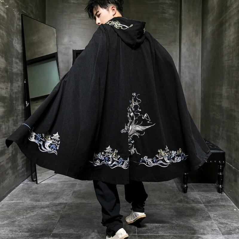 Black Mens Cape Coat Male Long Trench Coat Embroidery Manteau Mens Overcoats Cashmere Retro Winter Cloak Men KK2983