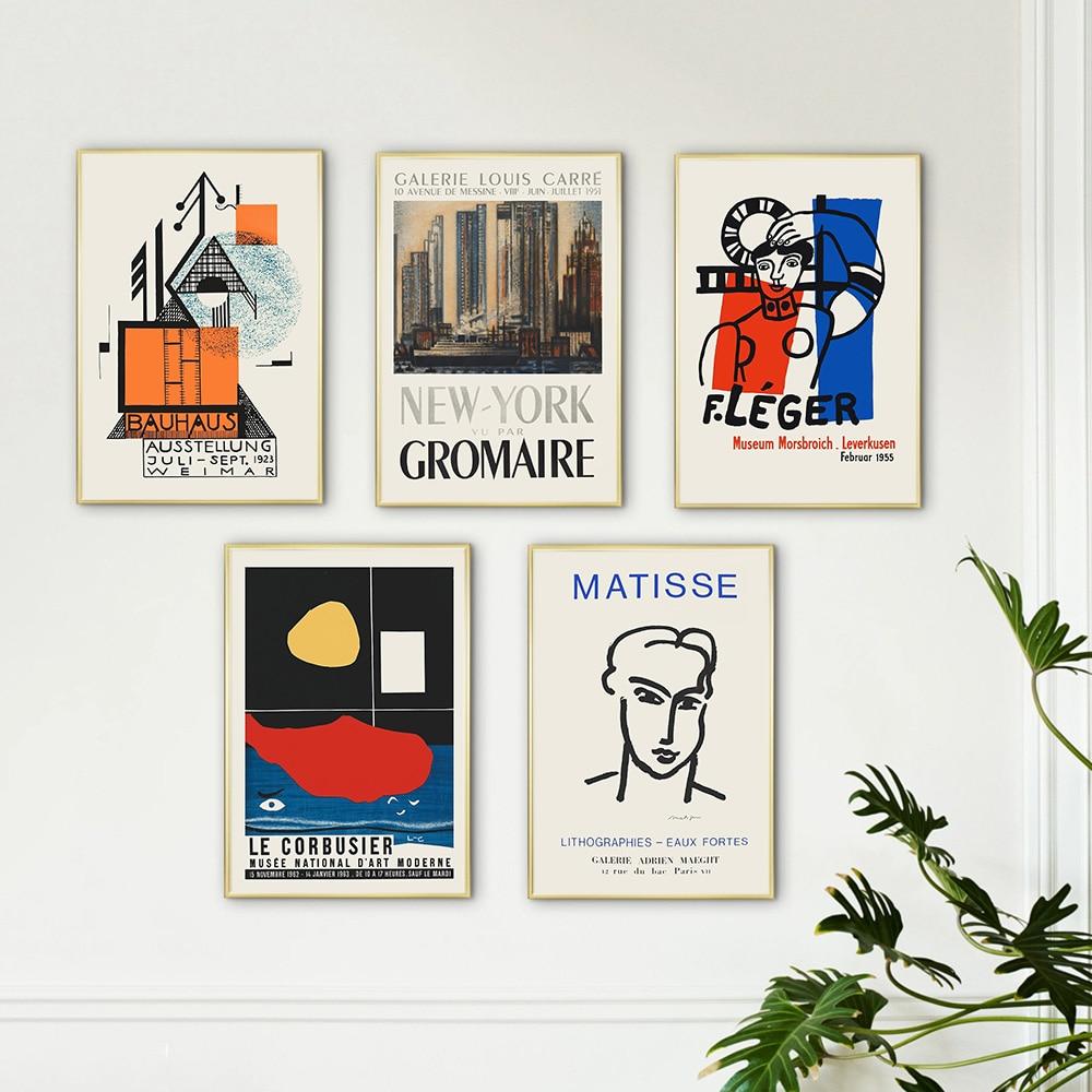 Sergi afiş baskı tuval üzerine sanat resim soyut hat özelliği duvar eski Matisse stil görüntü oturma odası ev dekor