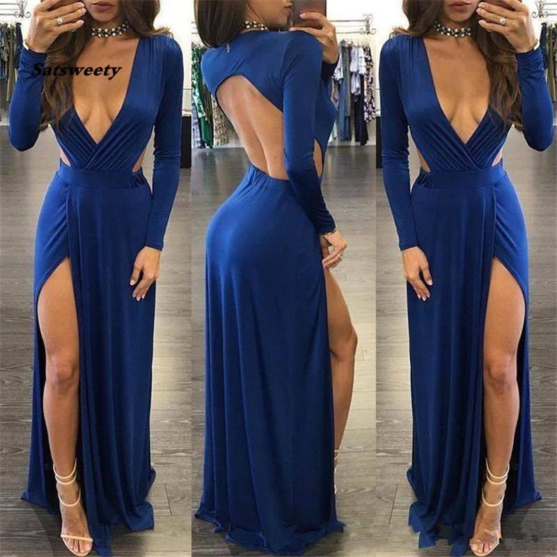 Blue Deep V Neck Long Sleeve Evening Dresses Sexy Backless High Split Prom Gowns Cheap Formal Party Dress African Women Vestidos