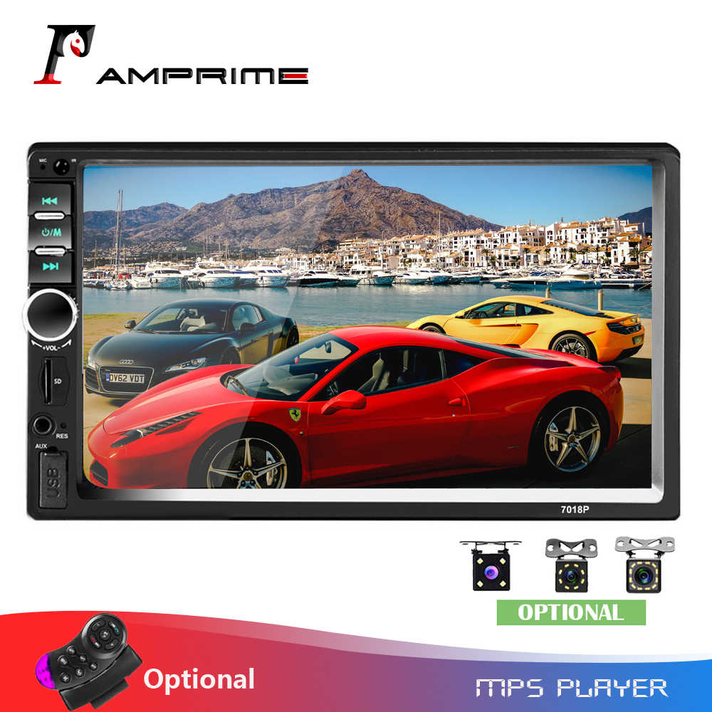 "Amprime 2 Din Auto Radio 7 ""Hd Car Multimedia Speler 7018B Autoradio Bluetooth MP5 Usb Audio Stereo Met Achter view Camera Controle"