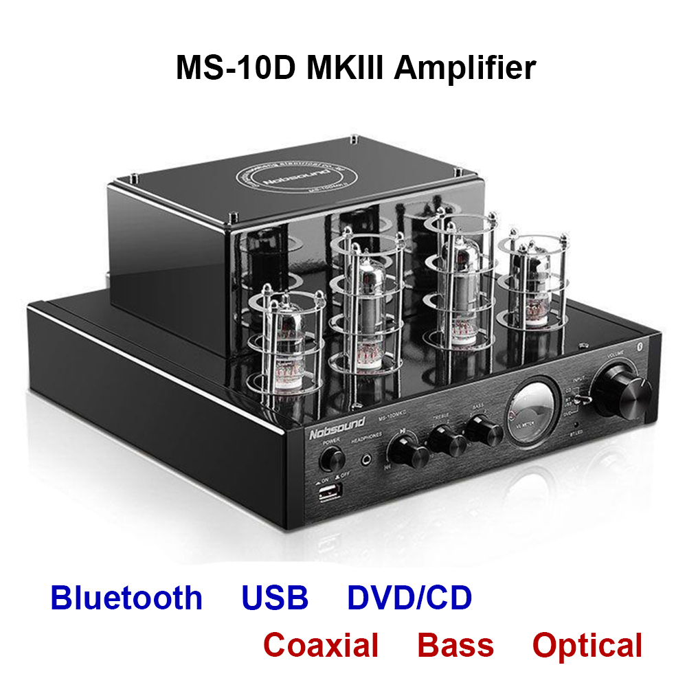 Nobsound MS-10D mkii MS-10D mkii amplificador tubo de vácuo amplificador suporte bluetooth usb óptico coaxial baixo dvd cd entrada