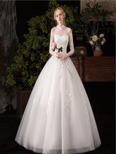 White Applique Beading Wedding dress Lace Full Length Ball Gown Long Sleeves Bridal werdding dress(China)