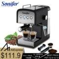 1.2L эспрессо электрическая кофейная машина Пена 15 бар высокое качество Кофеварка Электрический вспениватель молока кухонная техника Sonifer