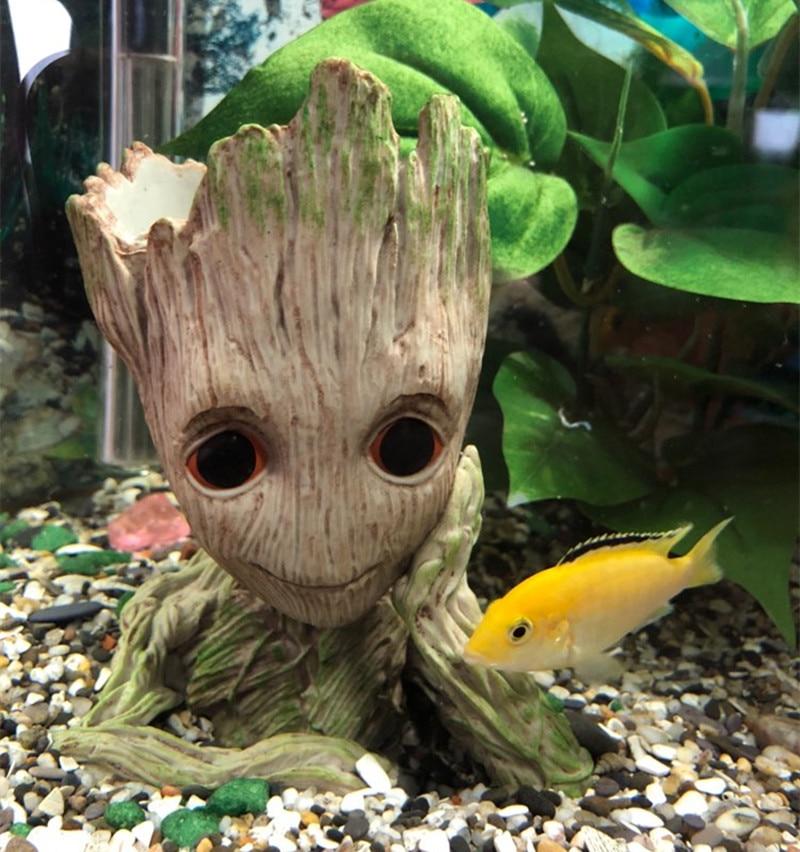 3 Style Cute Cartoon Tree Man Aquarium Ornament Resin Fish Tank Cave Stone Decoration Plant Flower Pot Bonsai Garden Home Decor