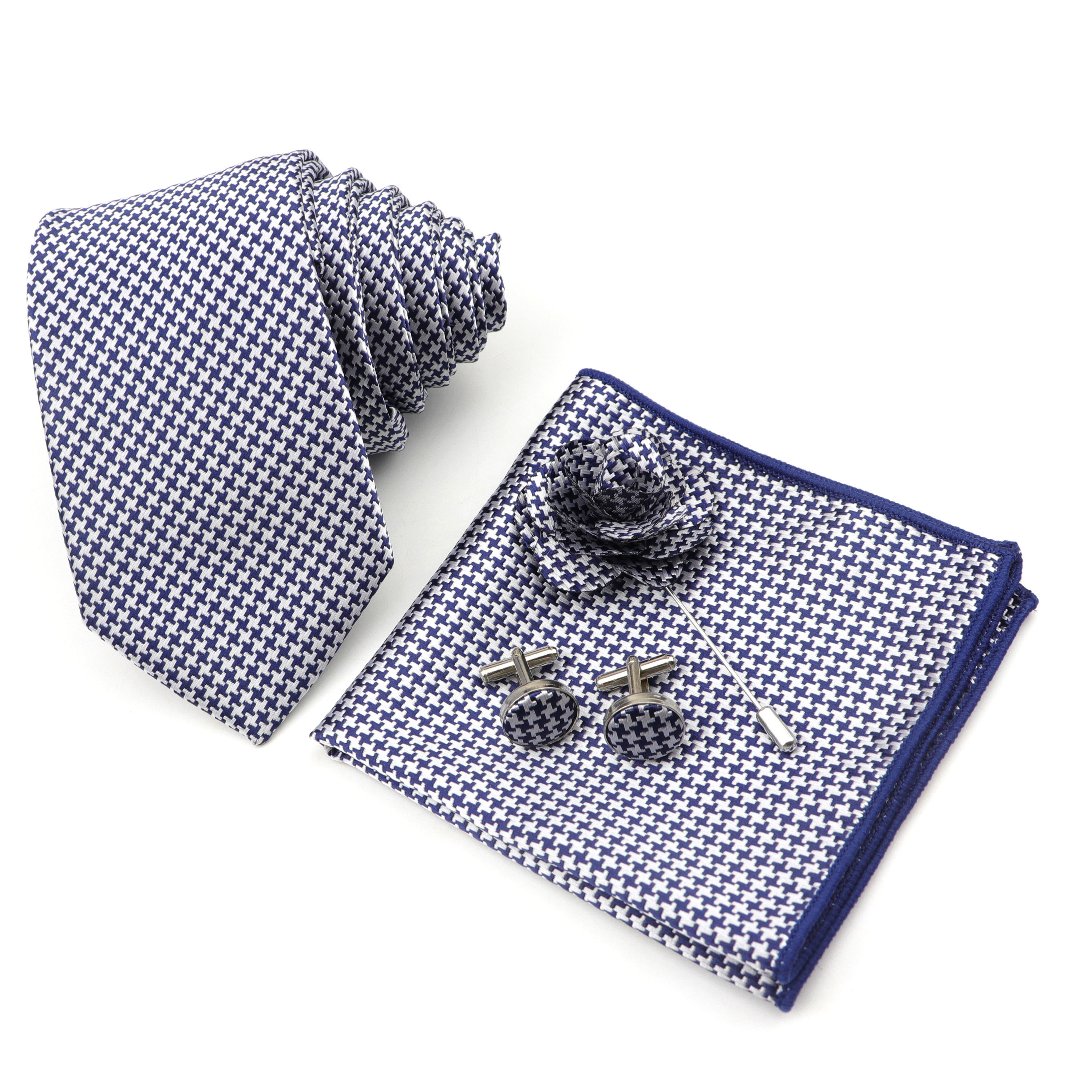 Men's Tie Handkerchief Cufflinks Corsage Set 7cm Polyester Striped Narrow Ties 4 Pcs Suits