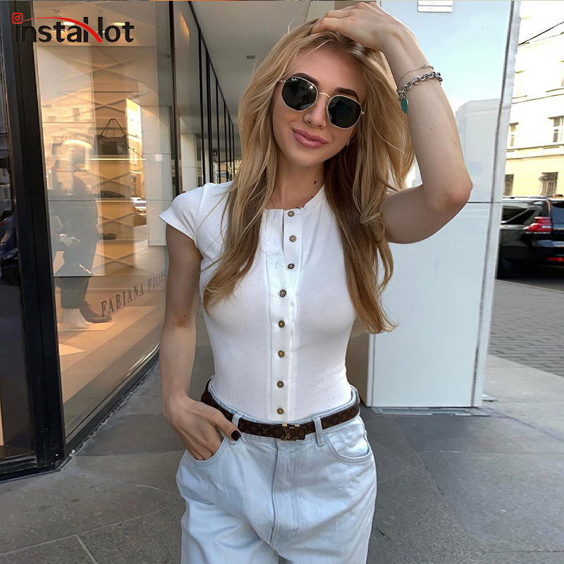 InstaHot Button Short Sleeve Bosysuit Solid White Red Slim Knitted Casual Vintage Top Skinny Round Neck Romper Ladies Summer