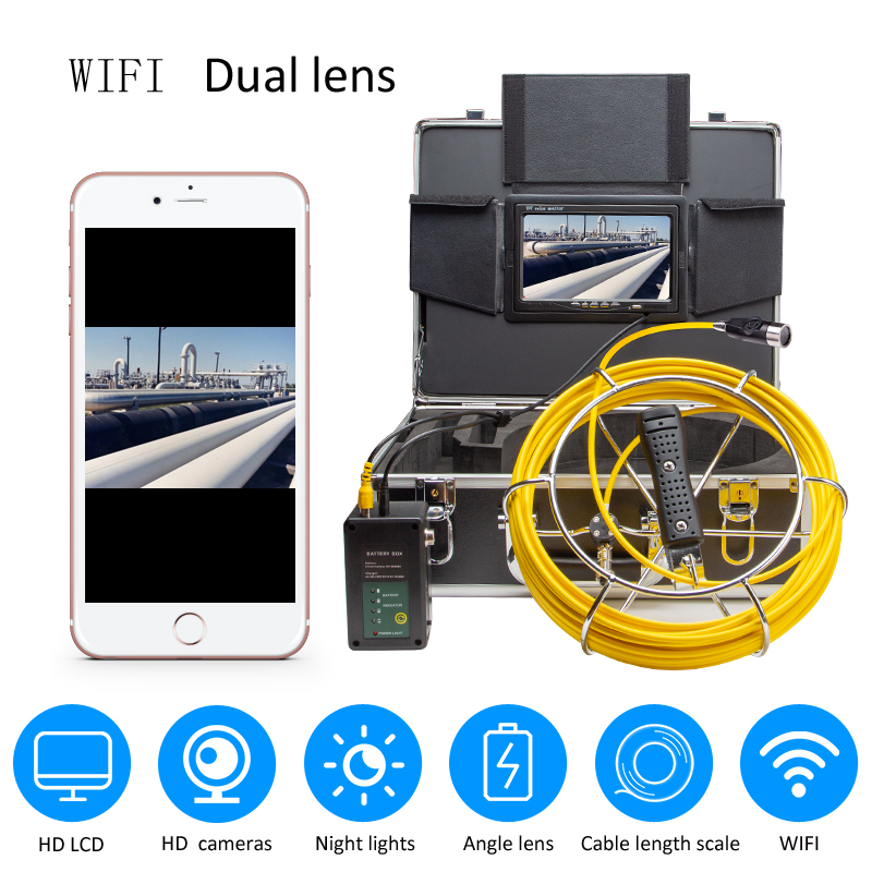 Exclusive Design 4500mAh HD Dual Camera Lens Drain Sewer Pipeline Industrial Endoscope SYANSPAN Pipe Inspection Video Camera