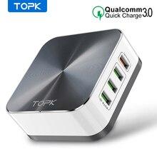 TOPK 8 DE CARGA RÁPIDA 3,0 USB cargador EU US UK AU Plug escritorio rápido cargador de teléfono adaptador para iPhone Samsung Xiaomi Huawe