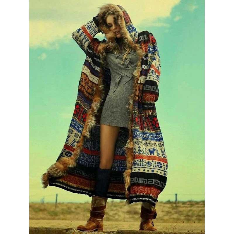 YAMDI Boho Printed FauxFur Hooded Jacket Women 2019 New Autumn Winter Long Cardigan Patchwork Style Outwears Chic Boho Jacket