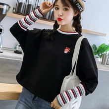 Korean Stripe Fake Two Piece T Shirt Cartoon Letter Embroidery Top Tee 2019 Long Sleeve O-neck T-shirt Women Causal T Shirts