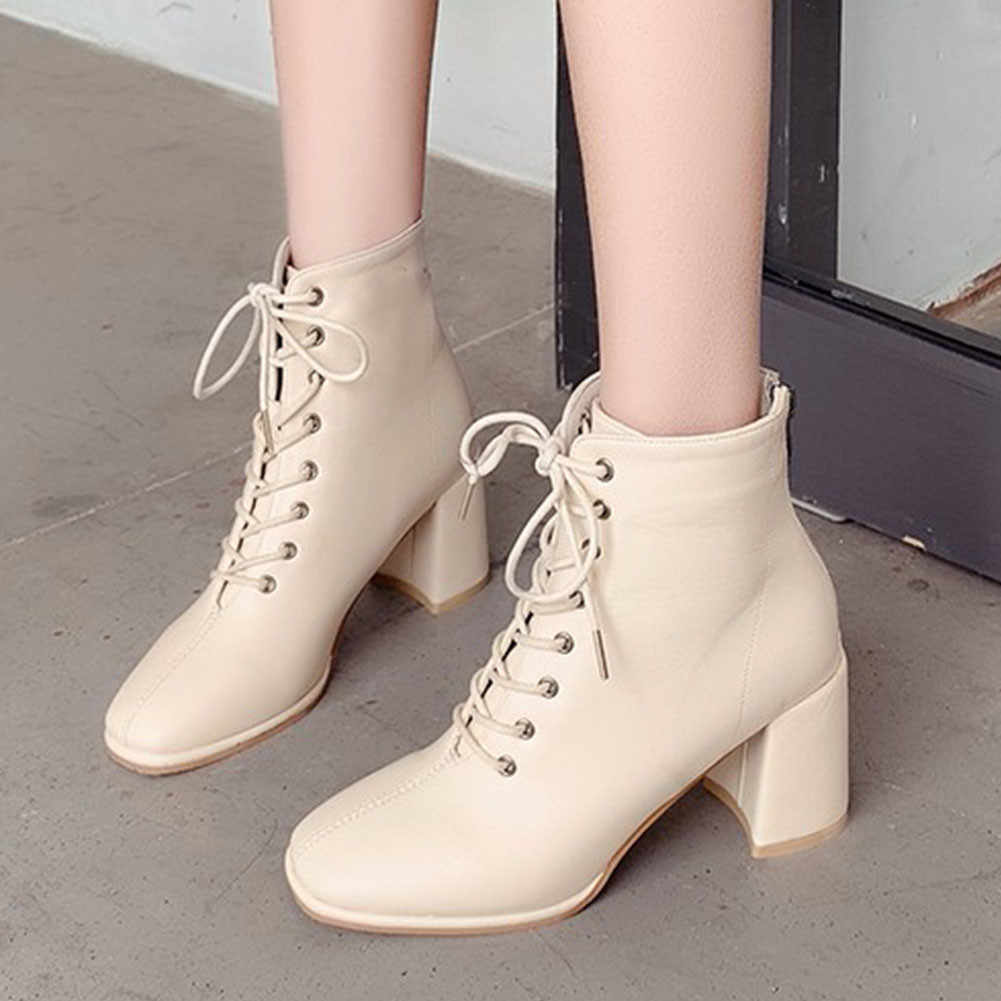 KARINLUNA สำนักงานสุภาพสตรี LACE-up OL รองเท้าส้นสูงรองเท้าบูทยี่ห้อสแควร์ Toe ข้อเท้ารองเท้าผู้หญิงหนังปลอมรองเท้าผู้หญิง