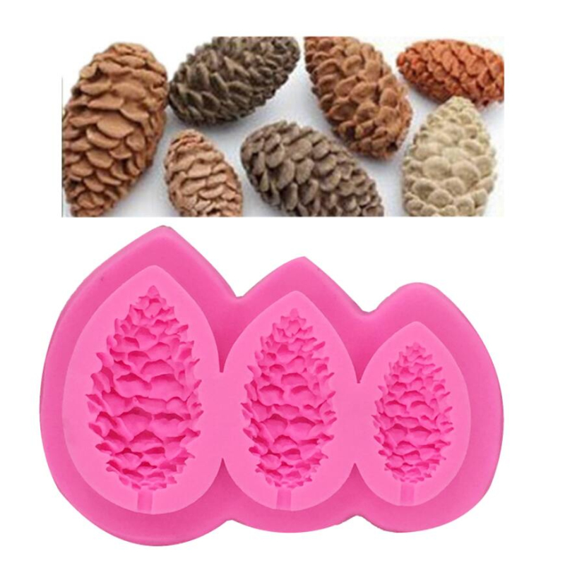 3-Cavity Mini Cute Pine Cone Candle Silicone Mold Soap Making Tools Cake Decorating Mould Food Grade Silicone Candle Craft