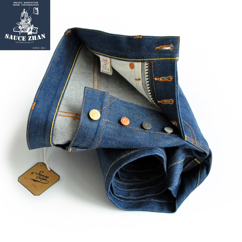 SauceZhan CONE MILLS White Oak Denim Jeans Selvedge Jeans Jeans Raw Denim  Plant Blue Jeans Men Slim Fit  Mens Jeans