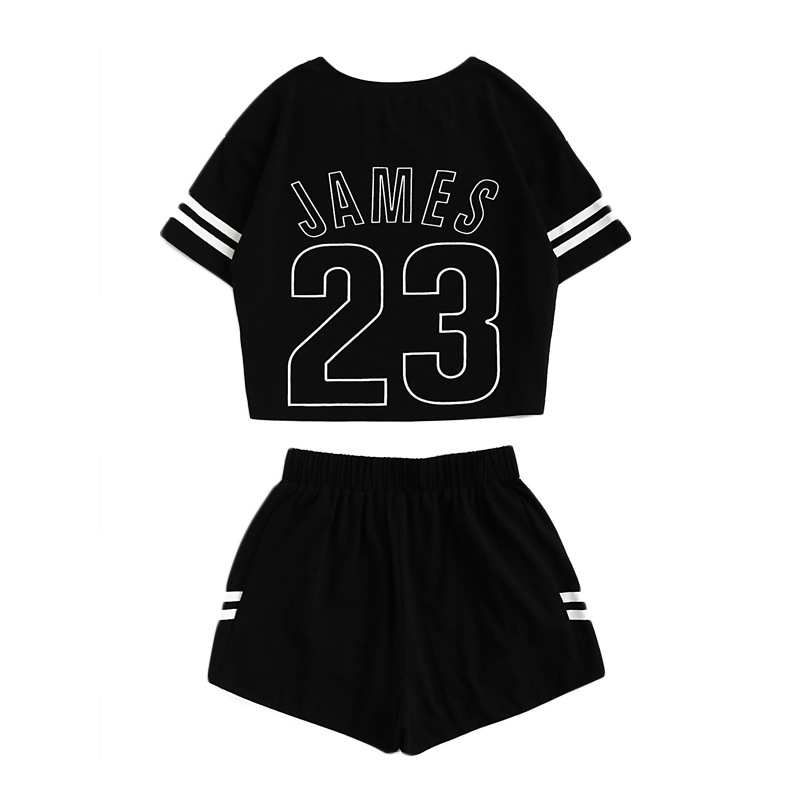 AliExpress New Style Women's Spring And Summer Leisure Suit Stripes Printed Letter Navel Shorts Set