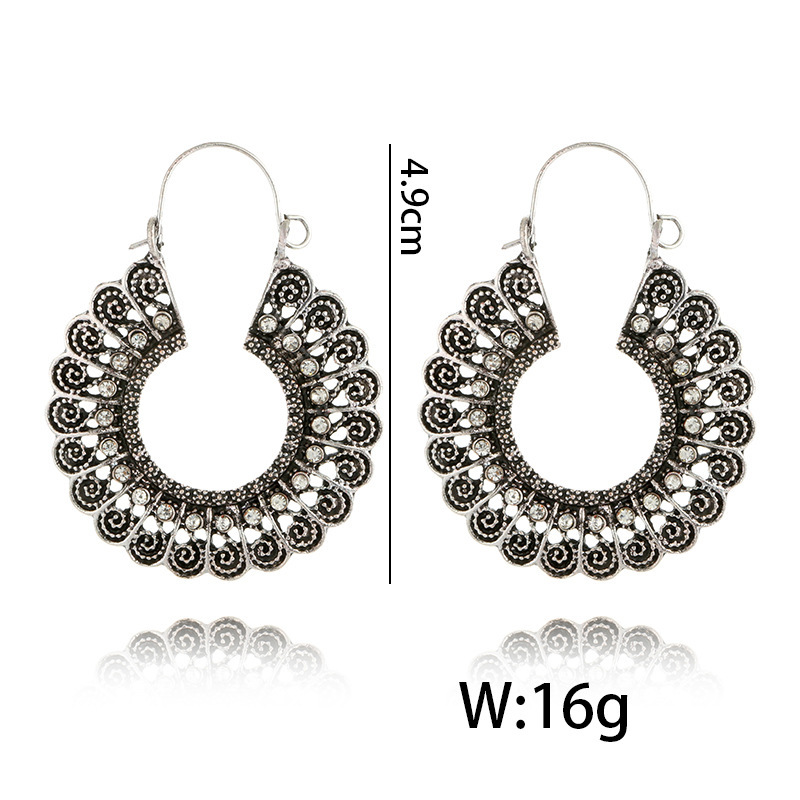 H1c7da58e90e44ae99addf935d58f518fe - HuaTang Vintage Gold Silver Color Metal Dangle Hollow Earrings for Women Geometric Carved Ethnic Earring Indian Jewellery brinco