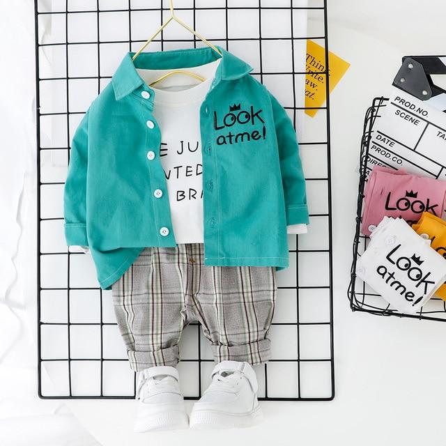סטים חדשים בגדי ילד מכתב חולצה + מכנסיים 2PCS סט פעוט בני אביב סתיו להאריך ימים יותר אופנה בגדי 1 2 3 4 שנה