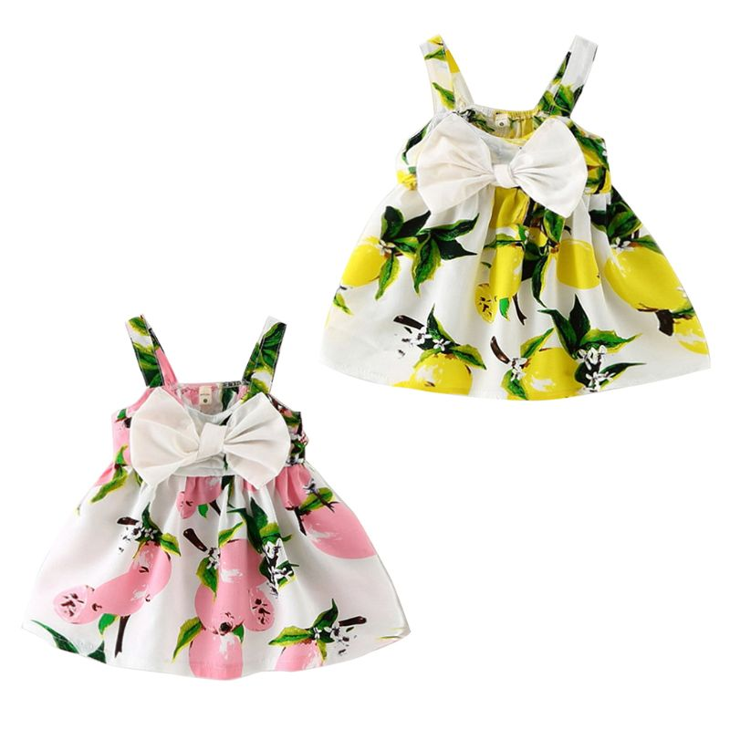 Children Princess Baby Floral Bright Color Sleeveless Strap Dress Girls Bow Dresses Party Birthday Gifts