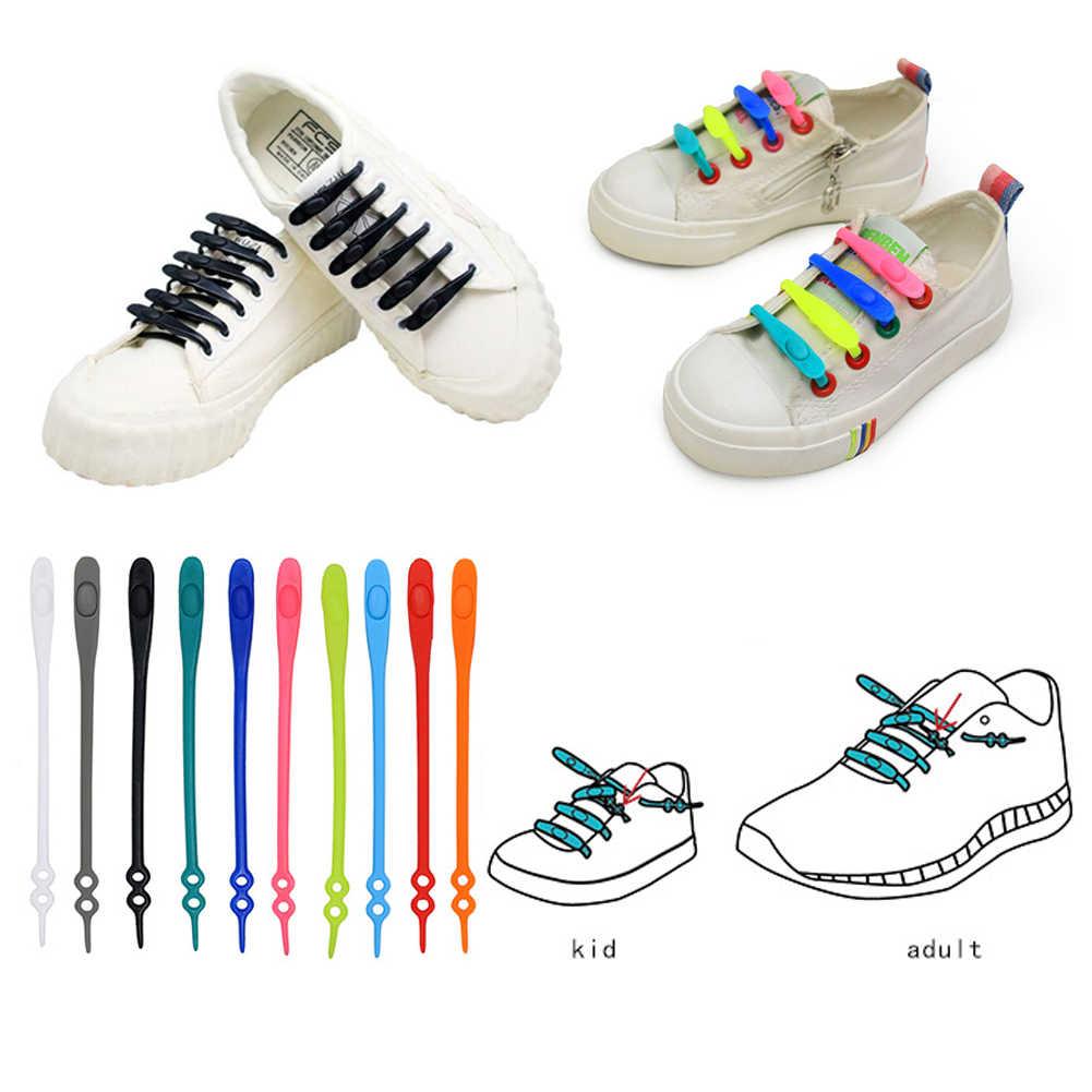 14 unids/pack de goma impermeable perezosos Slip en Tieless los cordones de los zapatos de diseño único accesorios de zapatos para correr zapatos de cordón de varios colores