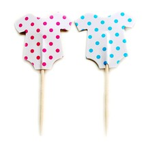 24pcs Cupcake Toppers party supplies Cute Baby clothes suit pink blue Kids Dress Birthday home Party Wedding cake Decorations(China)