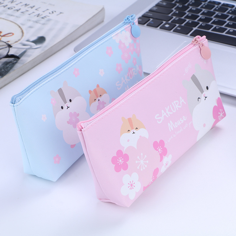 Kawaii Sakura Hamster PU Pencil Case Pencil Bag Zipper Pouch Large Capacity Pencilcase Box School Office Stationery Supply