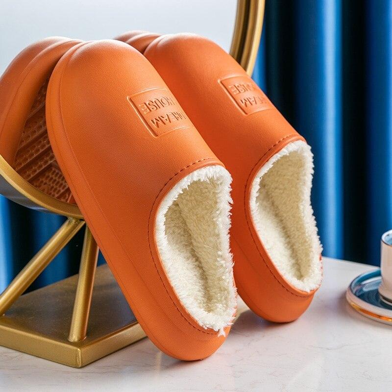 Зимние Модные женские тапочки; Домашние тапочки из искусственной кожи; Теплые меховые тапочки; Водонепроницаемые домашние тапочки; Домашняя обувь для женщин|Тапочки|   | АлиЭкспресс