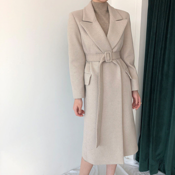 Woman Coats Winter Wool Long Coat With belt Office Lady Fashion lace Up Coats Outerwear 3