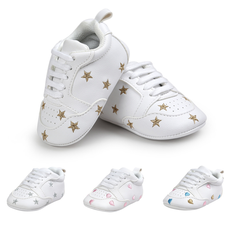 Baby Shoes Boy Girl Print Heart Star Toddler Sneaker PU Soft Anti-Slip Sole Newborn Infant First Walkers Crib Shoes Moccasins