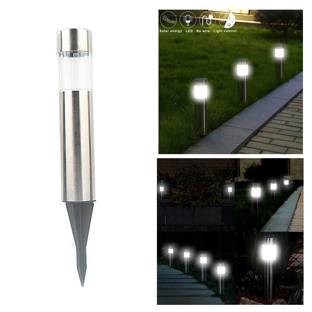 Mini Garden Light Stainless Steel Solar Powered LED Lawn Light For Outdoor Garden Decor Lawn Night Lamps Garden Street Lighting