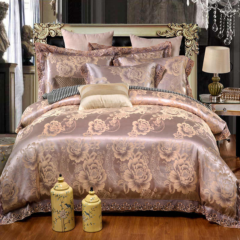 FUNBAKY 4pcs/Set Silk Comforter Luxury Bedding Sets Satin Jacquard Cotton Duvet Cover Set Bed Linings Pillowcase Home Textile