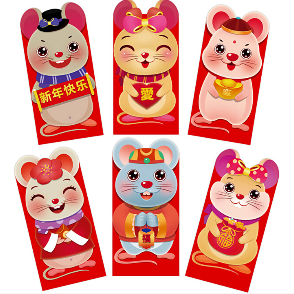 6pcs/set  Lucky Money bag Chinese Red Envelopes Lucky Pockets Red Packet For Chinese New Year And Party Gift Envelopes 2021-3