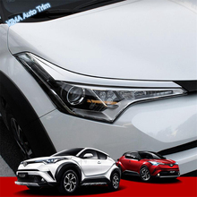 Lapetus Auto Styling Front Head Lights Lamp Eyelid Eyebrow Cover Trim For Toyota C-HR CHR 2016 - 2019 ABS Chrome / Carbon Fiber цена