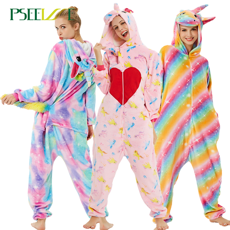New Women Unicorn Pajamas Sets Flannel Cute Animal Pajamas Women Winter Unisex Nightie Pyjamas Sleepwear Couple Home Wear Suit