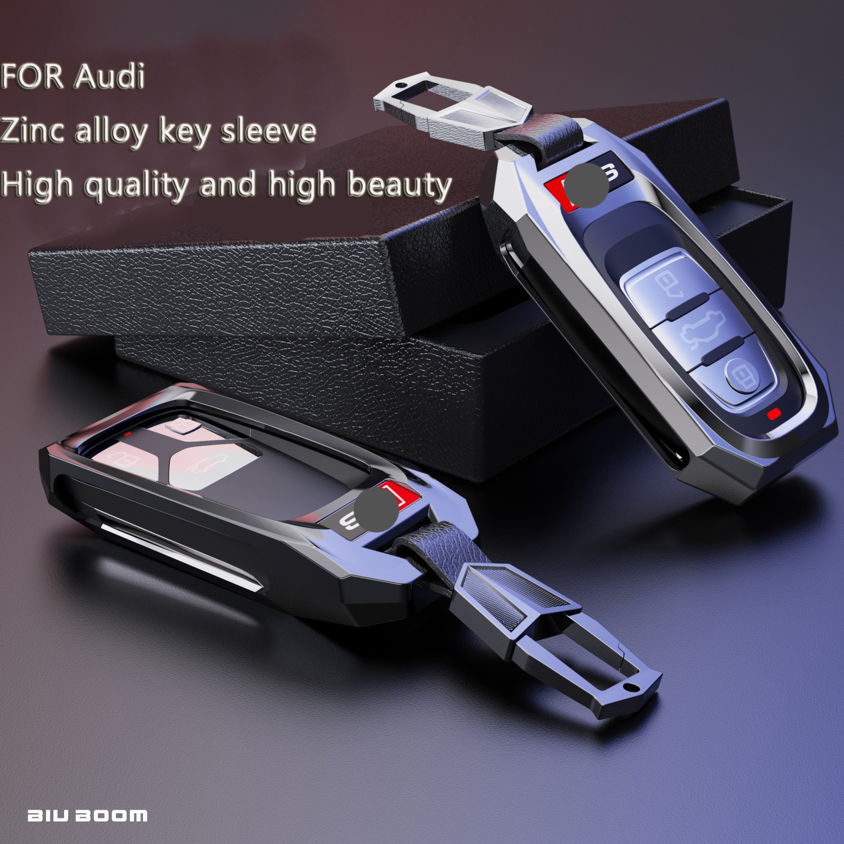 Remote Smart Key Shell Case For AUDI A3/A4/A6L Q5 / Q7 / S3 / RS8  Zinc Alloy Protection Key Shell Accessories Smart Cover Case