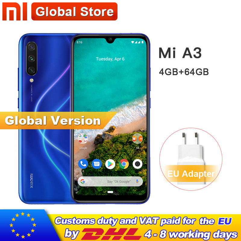 In Stock Global Version Xiaomi Mi A3 MiA3 4GB 64GB Mobile Phone 48MP+ 32MP Camera Snapdragon 665 Octa Core 6.088